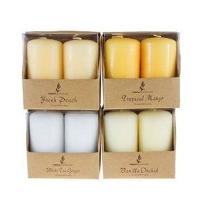 2 piece 2 x 3 Scented Pillar Candle in Brown Box - Assorted (Case of 4